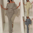 NEW Women Off Shoulder Glitter Bodycon Party Cocktail Ball Gown Long Dress USA