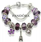 Authentic Pandora Bracelet Silver with Purple Love Heart Flower European Charms
