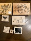 WOODEN RUBBER STAMPS VARIETY LOT OF 7 MOUNTED