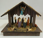 VINTAGE ANIMATED MUSICAL NATIVITY SCENE WOODEN HONG KONG