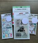 Crate Paper Snow and Cocoa Winter Snowman Scrapbook Stamp  Card Set