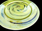 Italian Yalos Casa Murano Decorative Glass Plate Milliefiori Iridescent Yellow