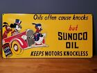 VTG SUNOCO MOTOR OIL PORCELAIN SIGN WITH DISNEY'S DONALD DUCK  MICKEY MOUSE