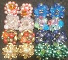 STUNNING Lot of Vintage Clip On Earrings Bead Clusters Signed Set Blue Pink