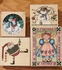 Lot of 4 Wood mounted Rubber stamps Snowman Friends Heart Santa