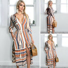 Women's Stripe Button-down Drawstring Roll Up Sleeve Split Shirt Dress Pocket S