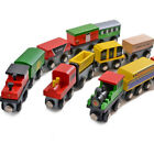 12 Pcs Wooden Train Car Toy Set Compatible With All Major Railway Track Adapter