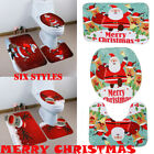 3Pcs Christmas Toilet Seat Cover Set Santa Claus Bath Rug Towel Mat Xmas Decor