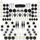 ITART 127ct Christmas Tree Ornaments Decorations Assortment Black and White