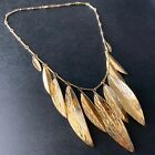 Signed NAPIER Vintage 1970s 80s Gold Tone Leaf Modernist Bohemian Necklace 537
