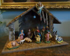 VINTAGE ITALIAN Large NATIVITY SET CRECHE 11 FIGURES MADE IN ITALY Music Box