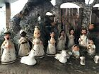 Nativity Scene 6 Christmas Mexico Clay Hand Painted 14 piece set White gold