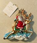 HALLMARK HERITAGE COLLECTION BLOWN GLASS FOLK ART SANTA REINDEER TREE ORNAMENT