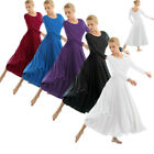 US Women Praise Loose Fit Full Length Tango Waltz Dance Dress Liturgical Lyrical