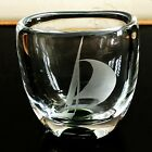 VTG KOSTA BODA CRYSTAL ETCHED ENGRAVED BOAT SHIP SAILBOAT VASE VICKE LINDSTRAND