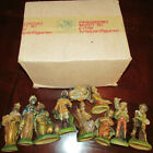 Vtg Italian Presepio Nativity Set Creche Krippenfiguren 10 Figures Original Box