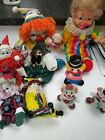 Collectible Clowns Lot of 9 porcelain cloth  figurines small to med size