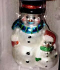 """Radko  Large 5"""" Tall Christmas Ornament Snowman With Blue Scarf !"""