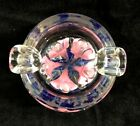 Vintage Hand Blown Art Deco Glass Ashtray c1950 Murano Bubble Control Blue Pink