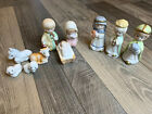 Vintage Ceramic Nativity Manger Figures Set Cute Christmas Decor