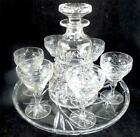 VINTAGE STUART CRYSTAL COMBI WINE LIQUOR DECANTER GLASS DRINKING SET ON TRAY