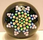 VINTAGE PERTHSHIRE MILLEFIORI PAPERWEIGHT COLORFUL STAR DESIGN P CNT CANE 2 1 2