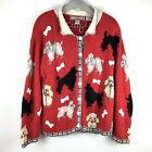 Poodle Lover Sweater Cardigan Red Vintage Dog Holiday XL