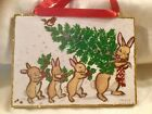 Bunny Family TreeGlittered Wood Christmas OrnamentGlittered Card Image