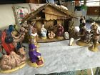 Ceramic Handmade Nativity set 1980s 16 large pieces plus large stable