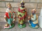 Vintage Tall Large Scale Three Kings Nativity Figures Paper Mache Plaster Read