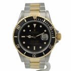 ROLEX SUBMARINER 18K SS TWO TONE OYSTER BLACK DIAL DIVER WATCH CHRONOMETER #7292