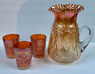 Fenton Butterfly and Fern Marigold Carnival Fluted Pitcher and 3 Tumblers