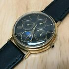 Vintage Pulsar Mens Moon Phase Triple Date Analog Quartz Watch Hours~New Battery
