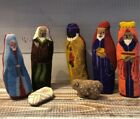 Vintage Nativity 7 Pc Handmade Cross Stitch Velvet Stitched Fabric Figurines