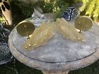 Pair Murano Glass Leaf Wall Sconces Large Gold
