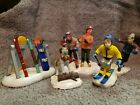 LEMAX VILLAGE COLLECTION Skiers snowboarder St Bernard lot of 5