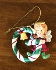 Ganz Candy Cane Angel Christmas Ornament Letter Initial G