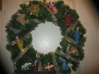 NEW Nativity Christmas Wreath LIGHTED BLUE RIDGE ITALY FIGURES BABY JESUS 24