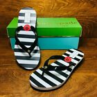 *NEW* Kate Spade New York Milli (Women's Size 9) Wedge Sandal Black White Stripe