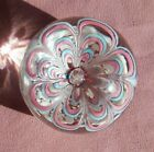 Vintage Murano Glass Paperweight With a Pink  Blue Flower  Controlled Bubble