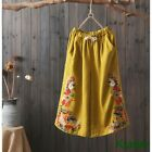 Vintage Embroidered Womens Casual Loose Wide Legs Linen Pants Trousers Leisure