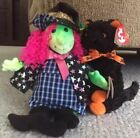 Halloween Ty Beanie Babies FRAIDY Black Cat SCARY Neon Witch Doll Plush 2000