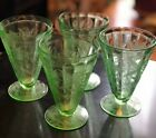 Set of 4 Green Jeannette Floral Poinsettia Depression Glass Footed Goblets