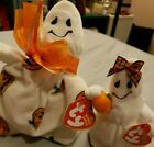 Halloween TY Halloweenie Beanie Coll Baby Ghost Set Ghoulianne + Ghoulish 2006