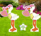 Twin Girl Yard Stork Signs Kit Lawn Birth Announcement New Baby Art Decoration
