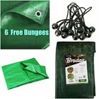 Green TARPAULIN Small Large Waterproof Sheet Cover Ground Trailer 6 Free Bungees