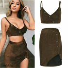 2PS Sets Women Bodycon Two Piece Tank Top and Skirt Set Bandage Club Party Dress