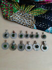 Vintage Tribal Coins Green Glass Centers 13x Mixed Size