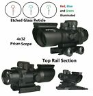 HOT 4X32 Prism Len Etched Glass Compact Scope Red Blue and Green Illuminated