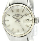 Vintage ROLEX Oyster Perpetual Date 6517 White Gold Steel Ladies Watch BF508566